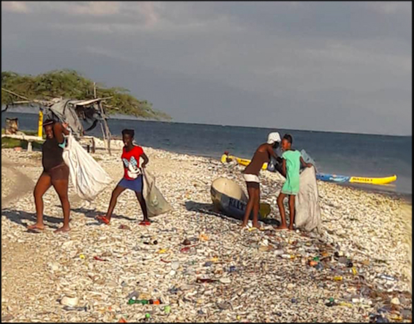 Image of residents collecting plastics